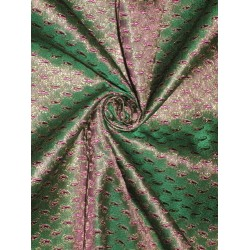 Pretty Silk Brocade Fabric Green,Purple & Metallic Gold 44""