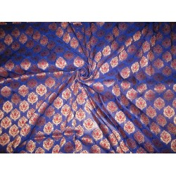 Silk Brocade Fabric Metallic Antique Gold,Red & Royal Blue