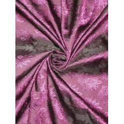Silk Brocade Fabric Aubergine with Black Shot 44""