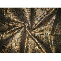 Heavy Silk Brocade Fabric Black,Brown & Metallic Gold