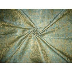 Silk Brocade Fabric Gold,Blue & Metallic Gold