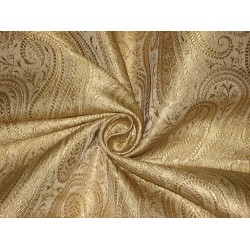 Silk Brocade fabric Gold Color BRO150[6] BY THE YARD