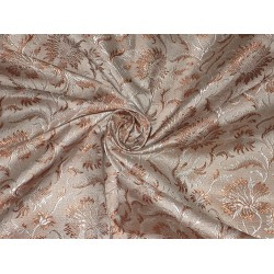 Silk Brocade fabric Brown,Beige & Cream Colour