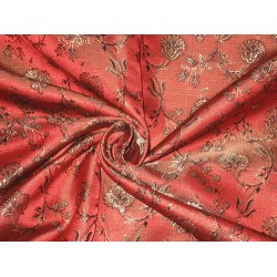 Silk Brocade fabric Rust,Bronze & Black Colour