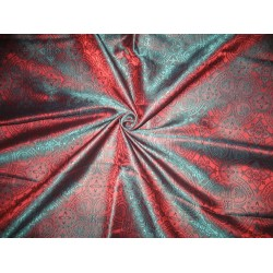 Silk Brocade Vestment Fabric Green & Orangeish Red