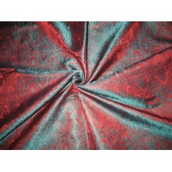 Silk Brocade fabric Teal Green & Rusty Red Colour