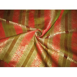 100% Pure Silk Brocade Fabric Red,Green & Metallic Gold 44""