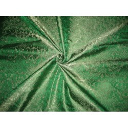 "SILK BROCADE FABRIC Emerald Green colour 44"" Vestment design"