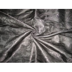 Heavy Pure Silk Brocade Fabric Jet Black color 44""
