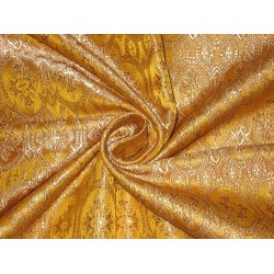 Silk Brocade Vestment Fabric Mustard Yellow,Light Brown & Cream 44""