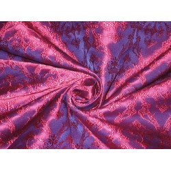 viscose Silk Brocade Fabric Pink & Purple 44""