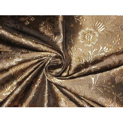 Silk Brocade Fabric Black,Brown & Gold 44""