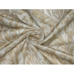 Heavy Silk Brocade Fabric Ivory,Cream & Metallic Gold