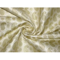 Silk Brocade Fabric Cream & Gold color 44""