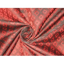 Silk Brocade fabric Dark Red & Black Colour