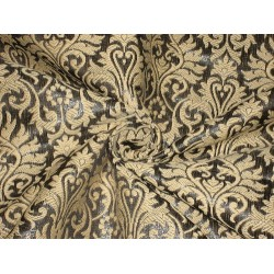 "Silk brocade fabric Metallic steel dark grey & Golden Cream color 44"" bro156[7]"