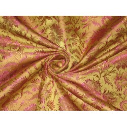 """Silk brocade fabric Olive Green,Brown & Pink color 44"""""""