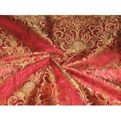 Heavy Pure Silk Brocade Fabric Multi Color & Metallic Gold