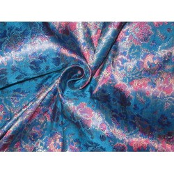 Silk Brocade Fabric Blue,Pink & Gold 44""