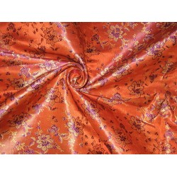 SILK BROCADE FABRIC Orange,Gold & Purple 44""