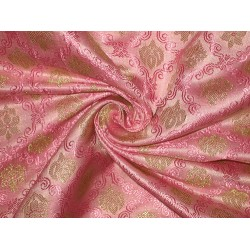 SILK BROCADE FABRIC Red/Pink & Gold 44""