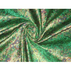 Silk Brocade Fabric Green & Gold floral design 44""