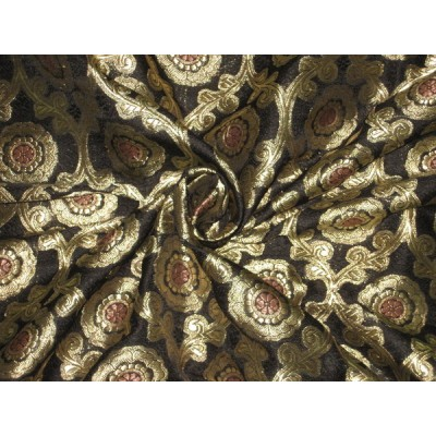 Silk Brocade Fabric BlackAntique Gold amp Gold