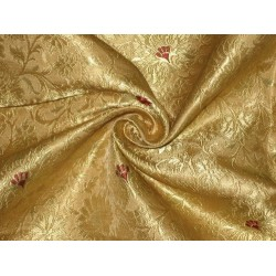 Heavy Silk Brocade Fabric Metallic Gold,Red & Gold