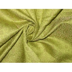 Spun Silk Brocade fabric Lime Green Color