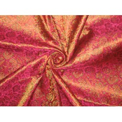 SILK BROCADE FABRIC Hot Pink,orange & Green 44""