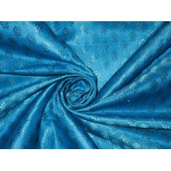 Silk Brocade Fabric Blue on Blue 44""