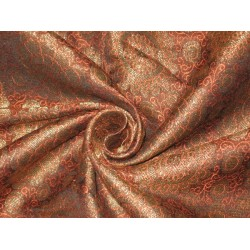 Spun Silk Brocade fabric Orange,Black & Metallic Gold 44""