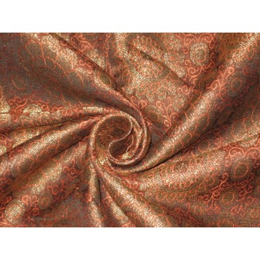 Spun Silk Brocade fabric OrangeBlack amp Metallic Gold 44