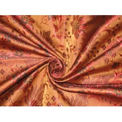 """Silk Brocade Fabric Brown,Black & Red color 44""""bro75[2] by the yard"""