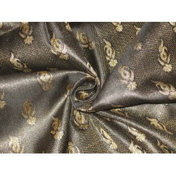 Silk Brocade fabric Black & Metallic Gold Colour
