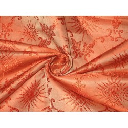 viscose Silk Brocade fabric Orange Vestment Design 44""