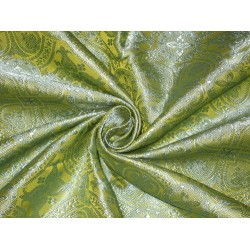 """Silk Brocade fabric Lime & Blue Vestment Design 44""""BRO123[4] by the yard"""
