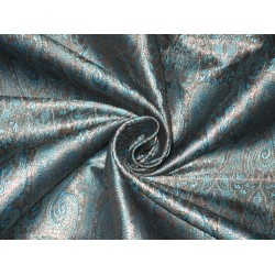 Silk Brocade fabric Blue,Black & Metallic Antique Gold 44""