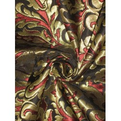 Heavy Pure Silk Brocade Fabric Black,Wine Red & Metallic Gold