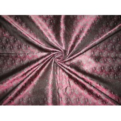 """Silk Brocade fabric Pink,Black & Blue Colour 44"""" by the yard"""