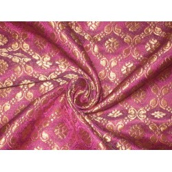 Silk Brocade fabric Pinkish Purple & Metallic Gold Colour 44""