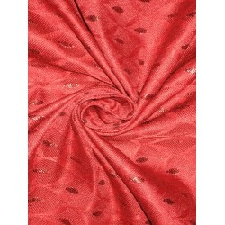 Silk Brocade Fabric Red & Metallic 44""