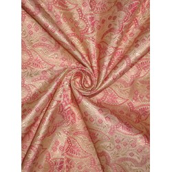 SILK BROCADE FABRIC Gold,Pink & Baby Pink color 44  BRO160[5] BY THE YARD