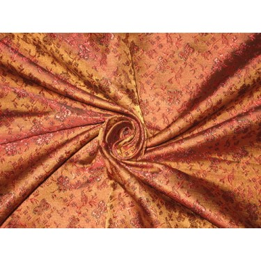 SILK BROCADE FABRIC Red,Brown & Black color BRO160[4] by the yard