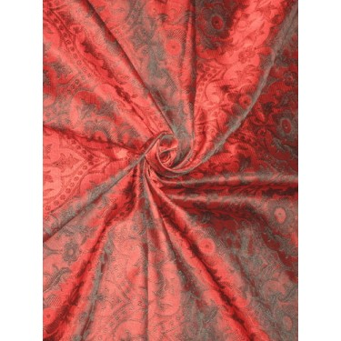 SILK BROCADE vestment FABRIC Red & Black color BRO161[1] by the yard
