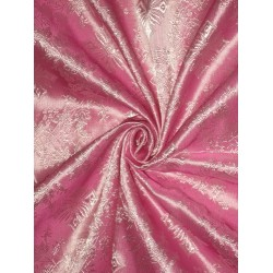 "SILK BROCADE FABRIC Pink colour 44"" Vestment design"