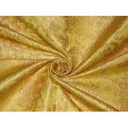 SILK BROCADE FABRIC Yellow colour 44""