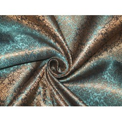 Silk Brocade Fabric Metallic Gold & Blue 44""