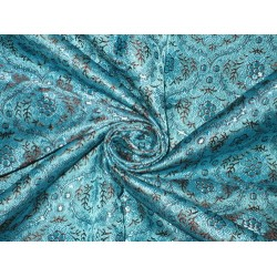 Silk Brocade fabric Blue color BRO162[4]