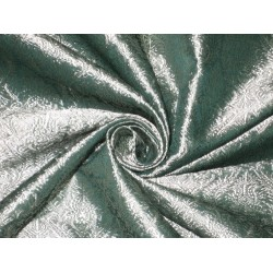Silk Brocade fabric Silver Teal color